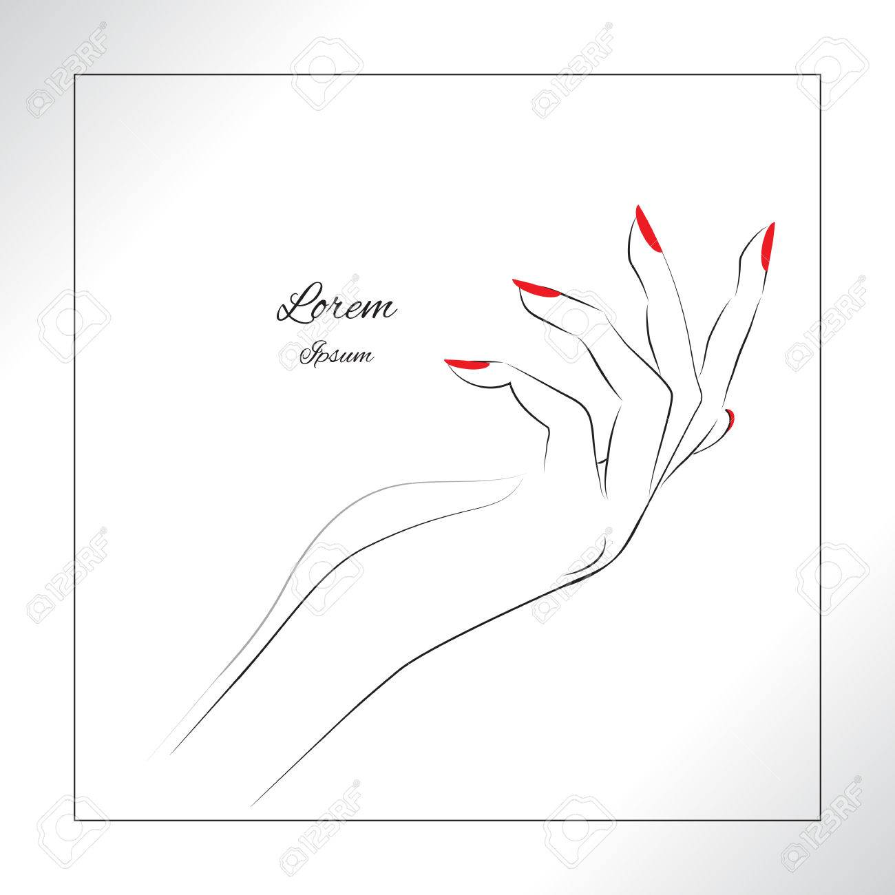 Female hand with painted nails, red manicure symbol. Vector illustration. - 51825109