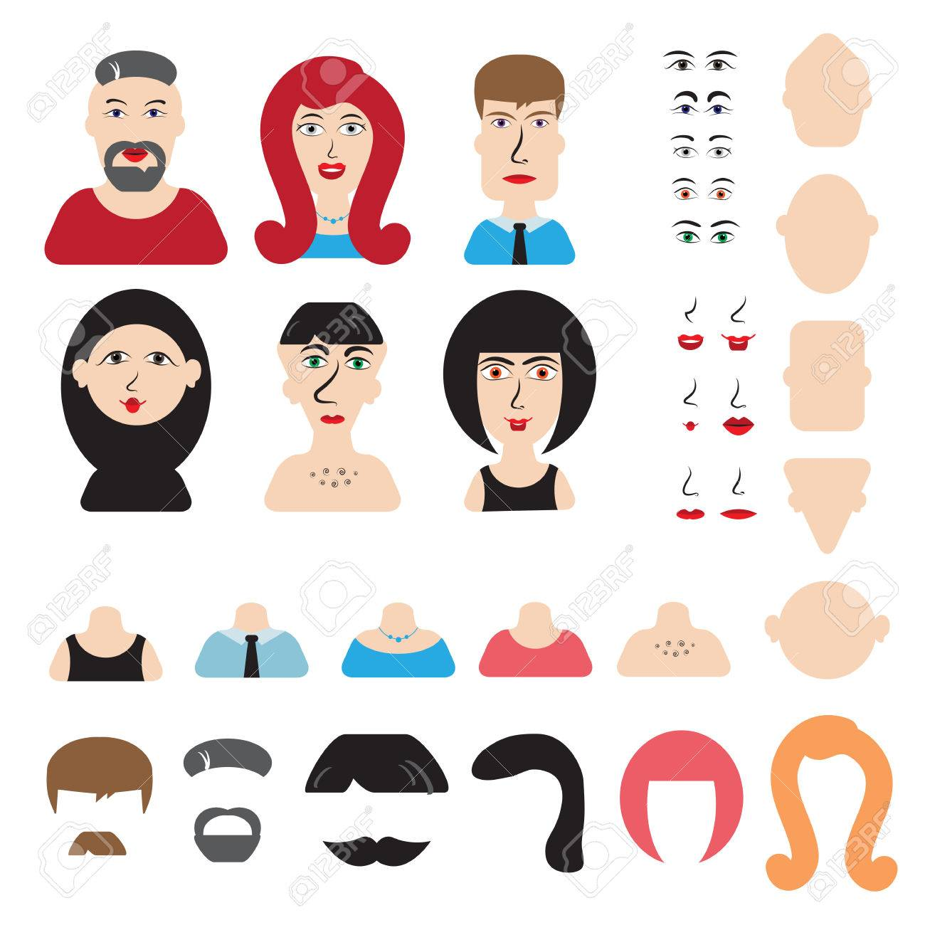 Men And Women Head And Face Constructor Or Avatar Constructor Royalty Free Cliparts Vectors And Stock Illustration Image 54701793