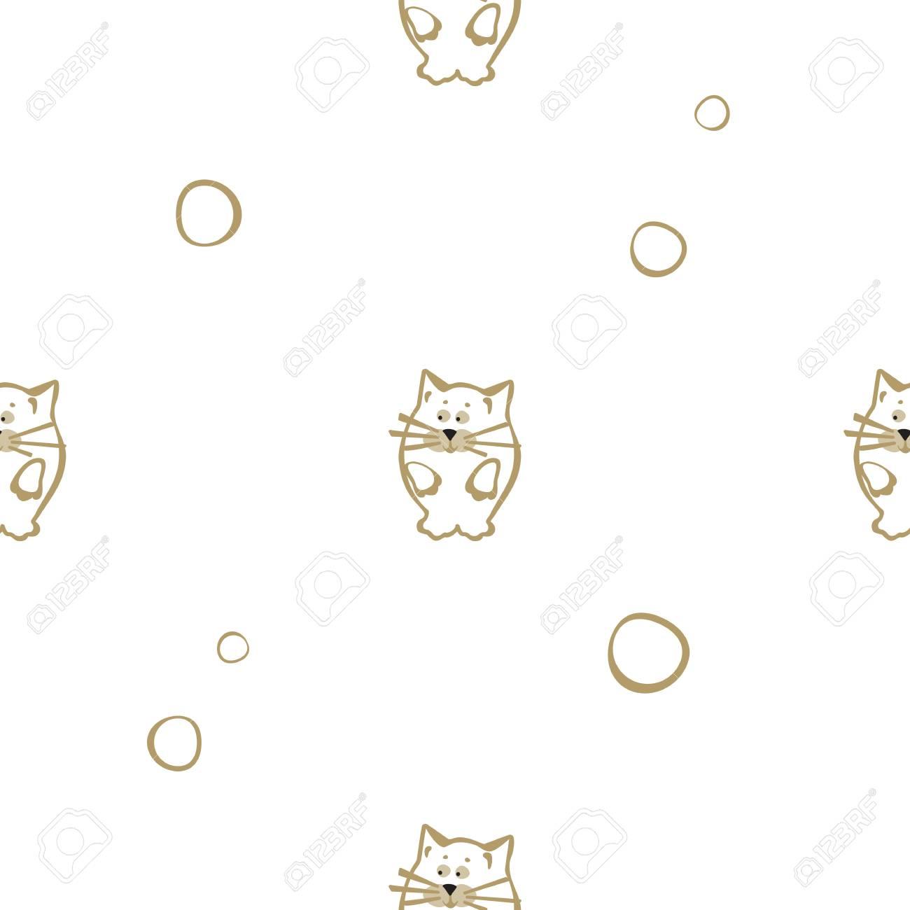 Patrón Transparente De Color Brillante Con El Gato. Fondo Del Vector ...