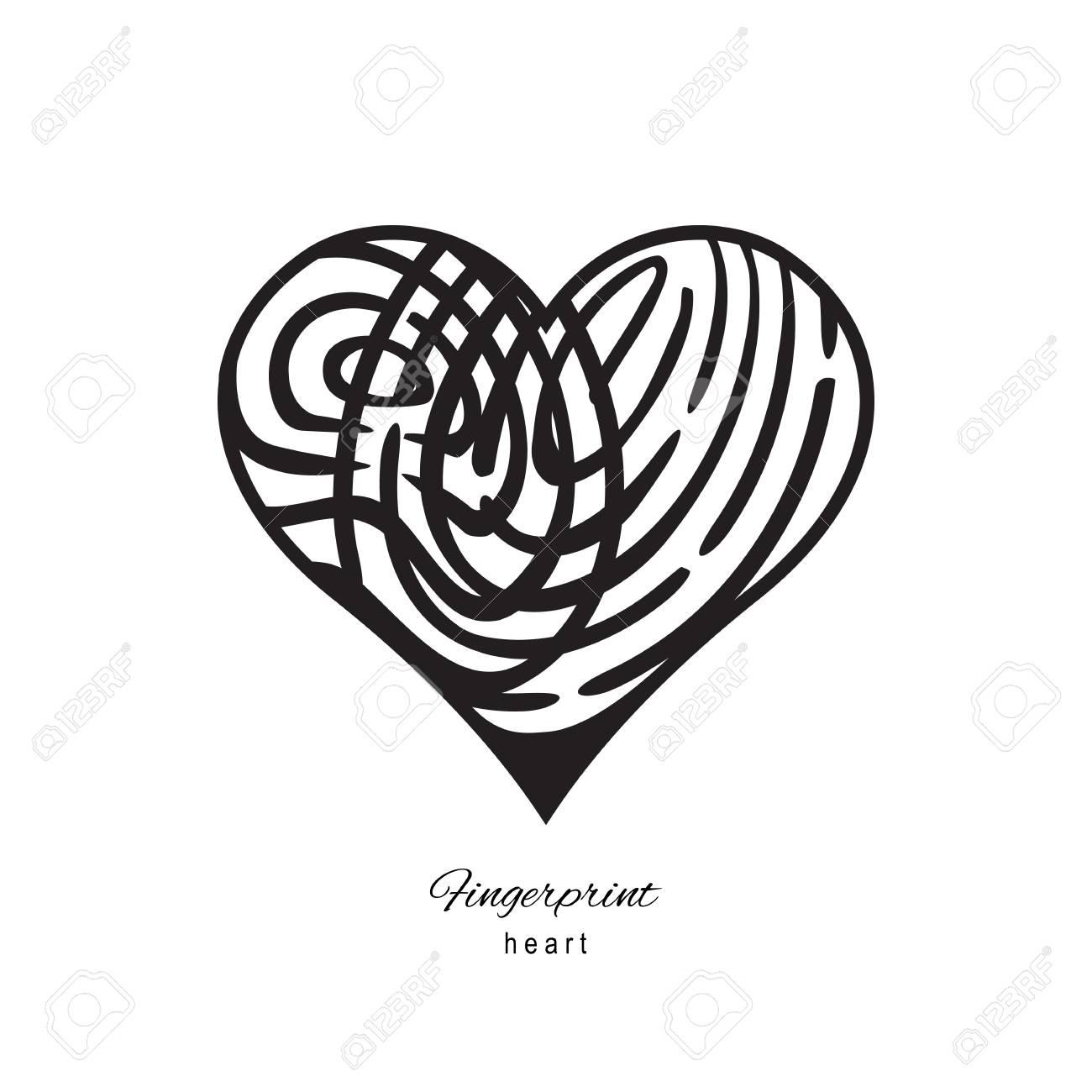Fingerabdruck Herz Symbol Auf Weissem Hintergrund Lizenzfrei Nutzbare