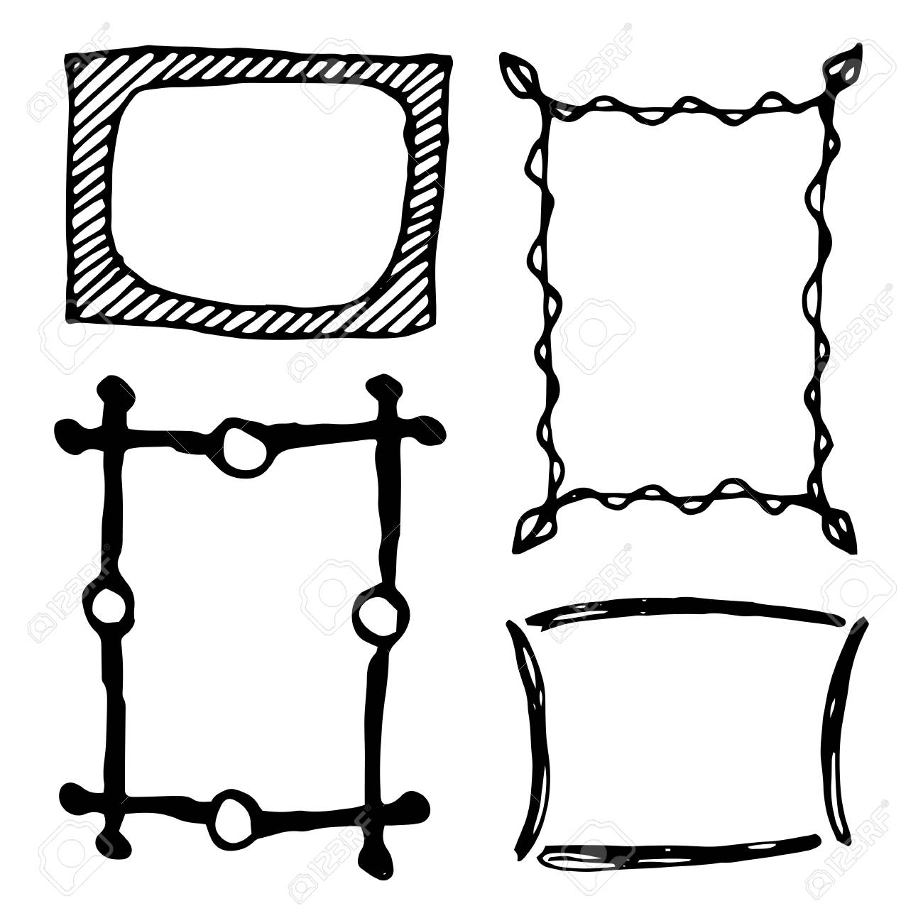hand drawn rectangle frames set cartoon vector square borders rh 123rf com vector borders and frames free vector borders and frames