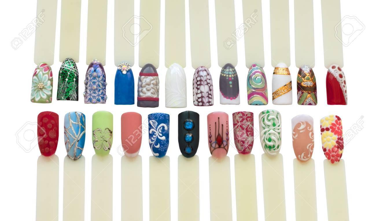 Nail Art Handmade Samples Isolated On White Design Templates