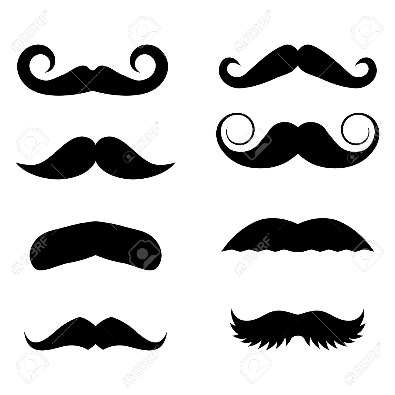 big set of vector hipster mustache collection of cartoon barber rh 123rf com cartoon moustache background cartoon mustache