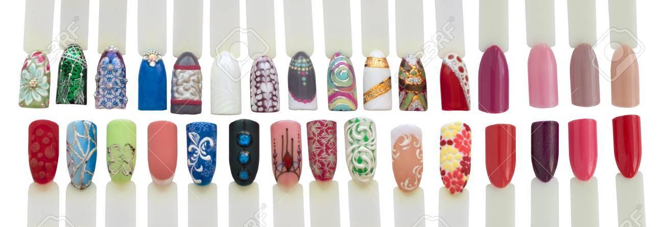 Nail Art Handmade Samples Isolated On White. Design Templates ...