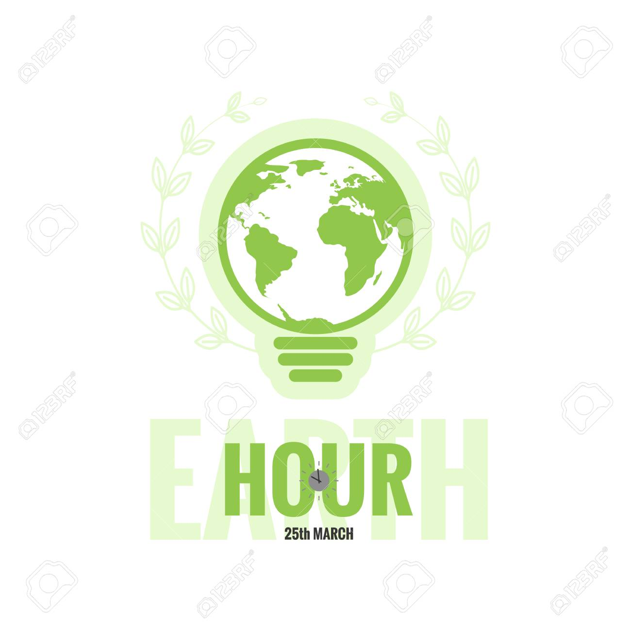 Vector template of earth hour or daylight saving time with world vector vector template of earth hour or daylight saving time with world map lamp and clocks gumiabroncs Images