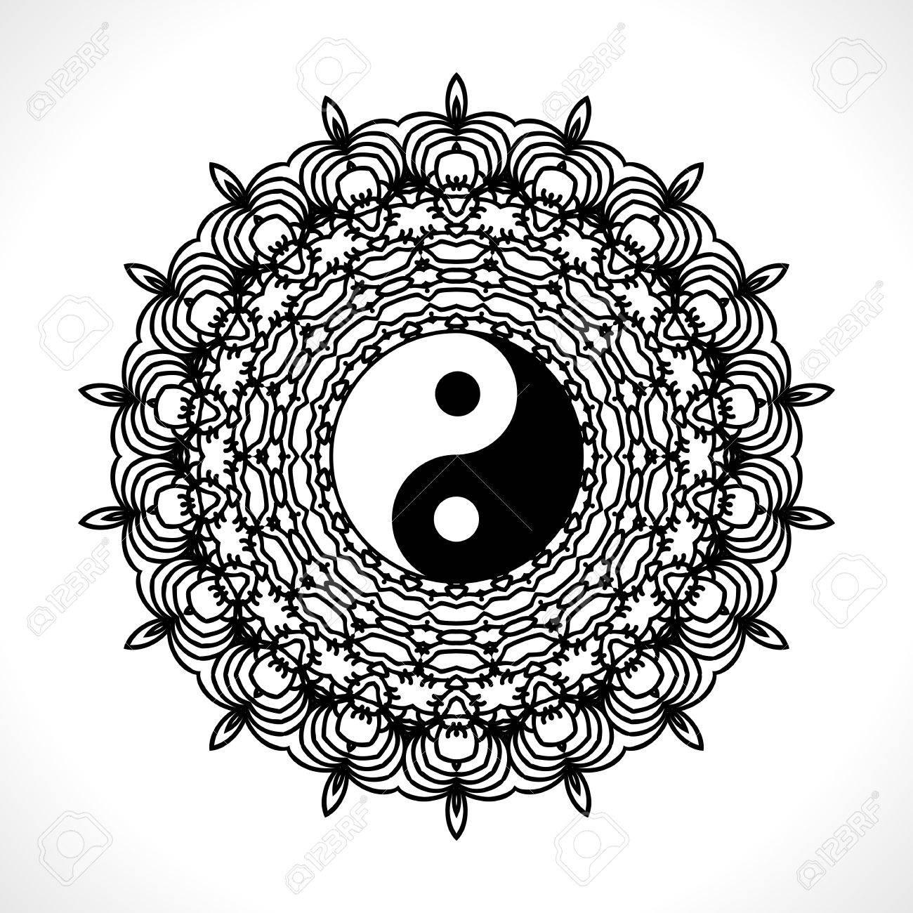 Mandala De La Flor Del Vector Con El Símbolo De Yin Yang Para El ...