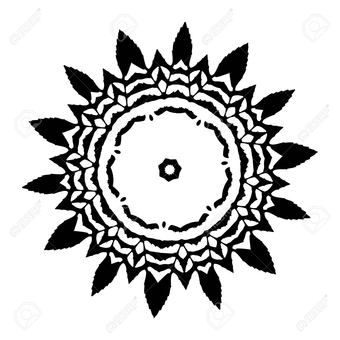Vector flower mandala for coloring book and indian ddesign black and white moroccan