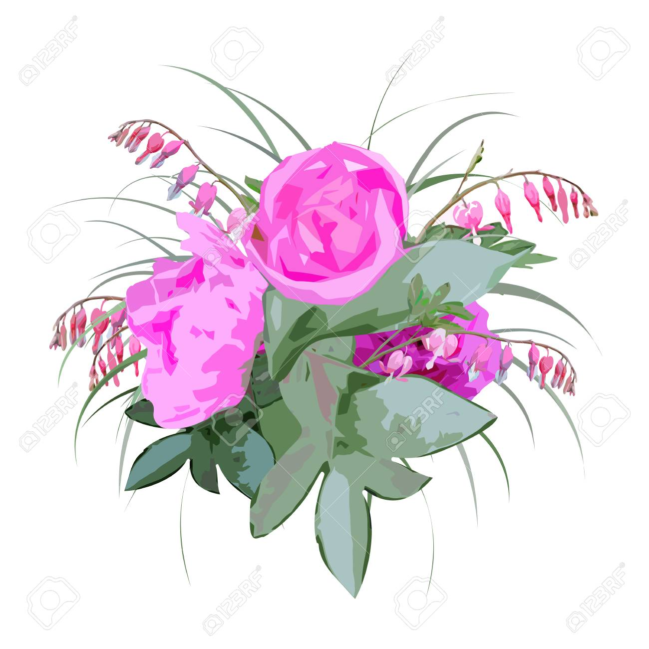 Floral Bouquet With Peony Flowers And Bleeding Heart Flowers ...