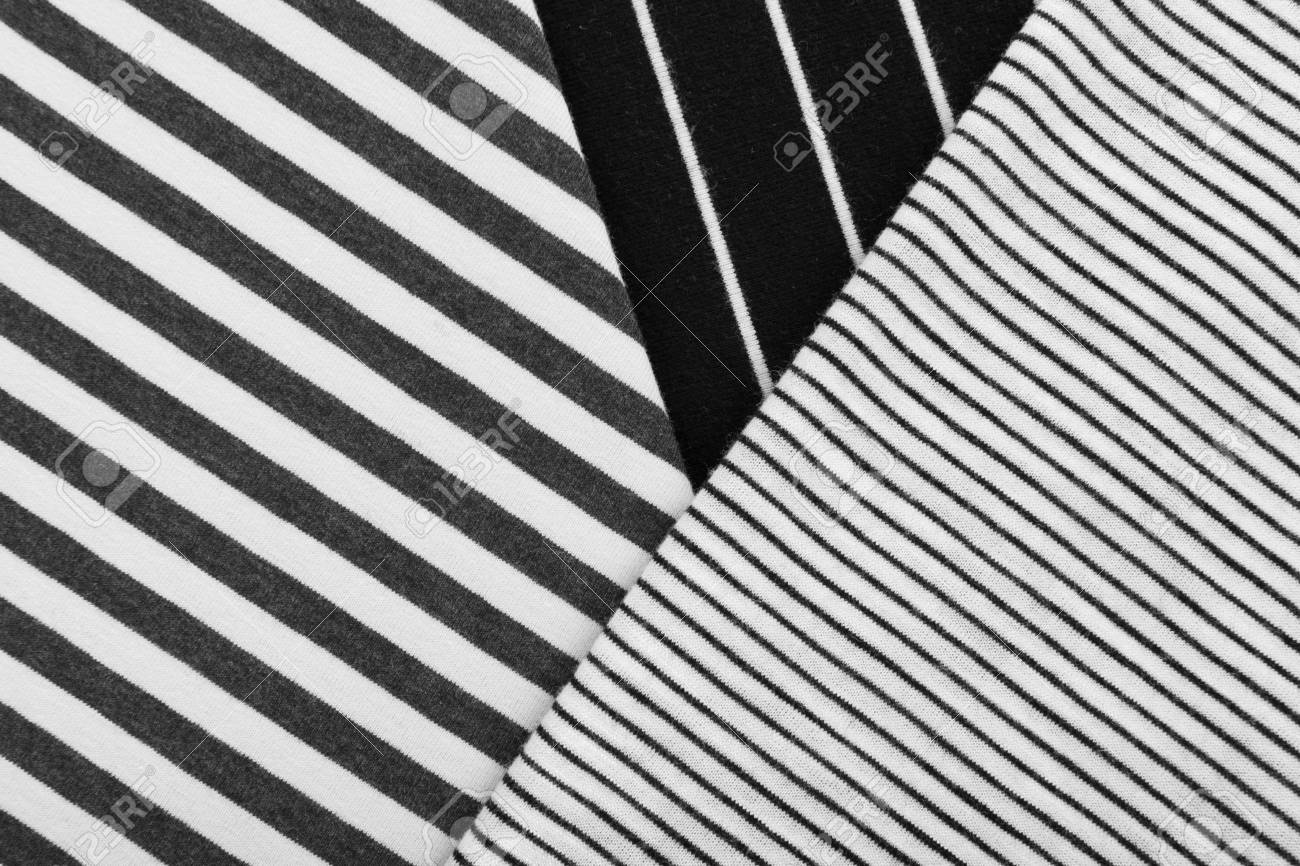 Diagonal Striped Cotton Fabric Background Black And White Textile
