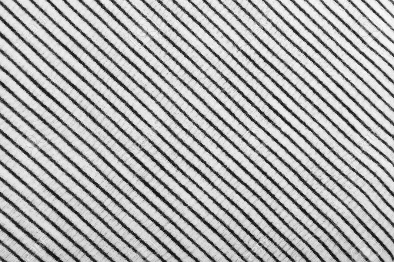 Diagonal Striped Cotton Fabric Background Black And White Textile