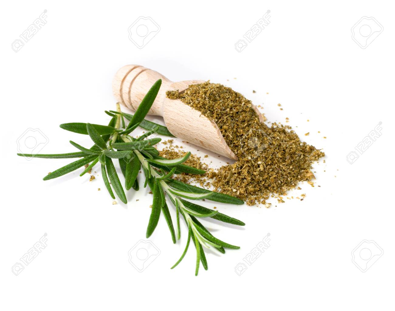Pile of fish spices mix isolated. Blended seafood spice powders with seasoned salts, grounded saffron, anise, cumin, coriander, basil, fennel, fresh green rosemary, ginger - 139579066