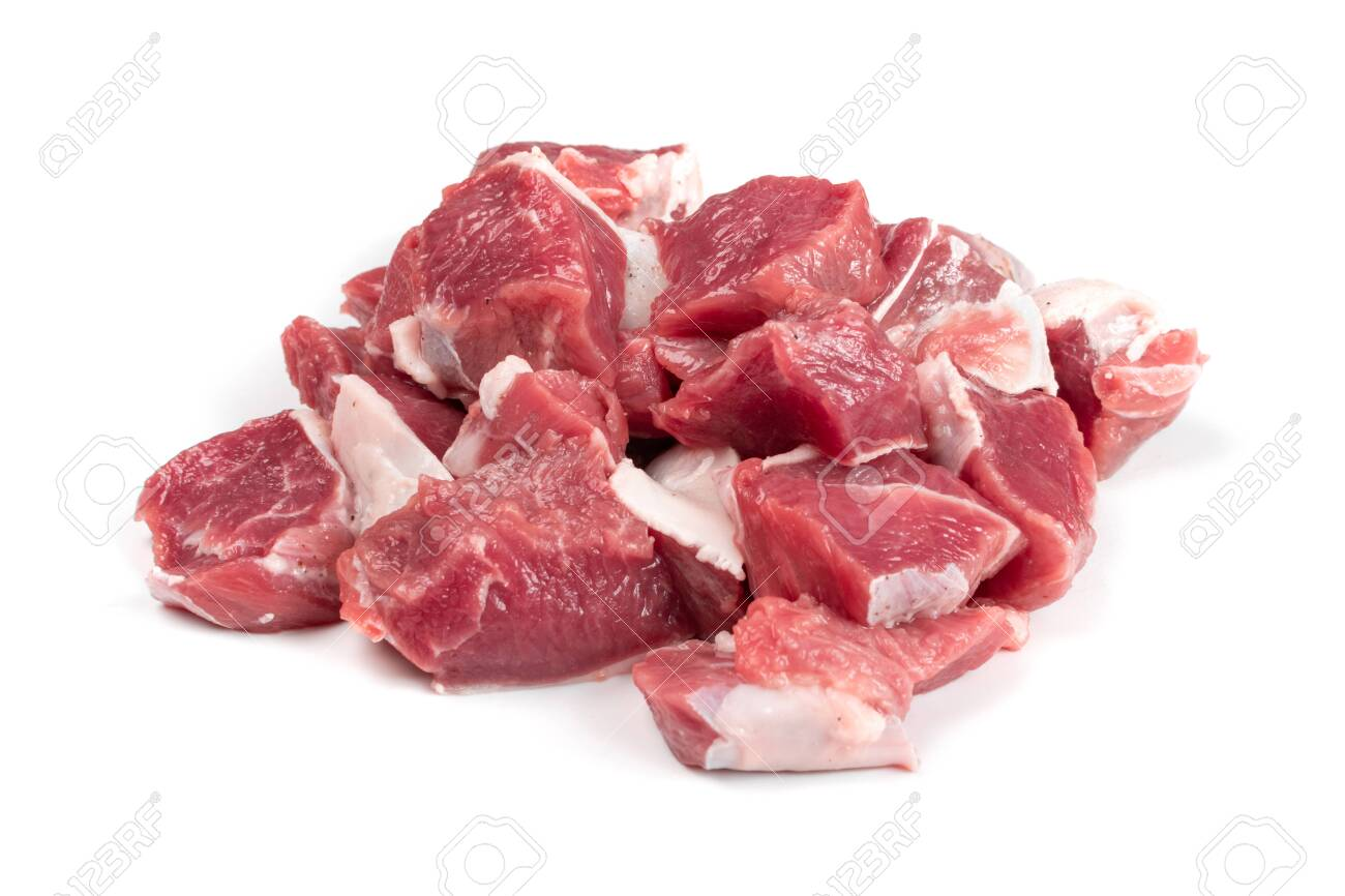 Raw chopped lamb fillet, diced tenderloin or cubed mutton sirloin meat isolated. Fresh sheep fillet cubes, loin filet with ground pepper for skewers - 139716095
