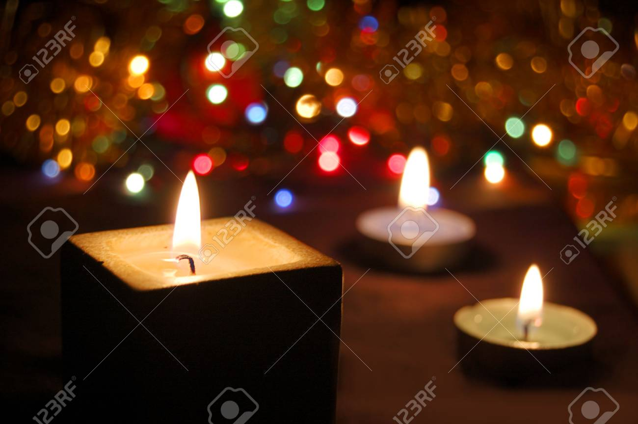 candles lit with colorful background Stock Photo - 3824125