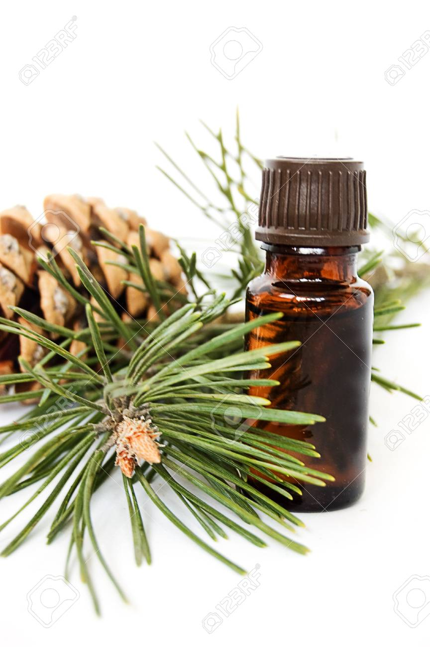 Bottle of fir tree oil over white Stock Photo - 6853468
