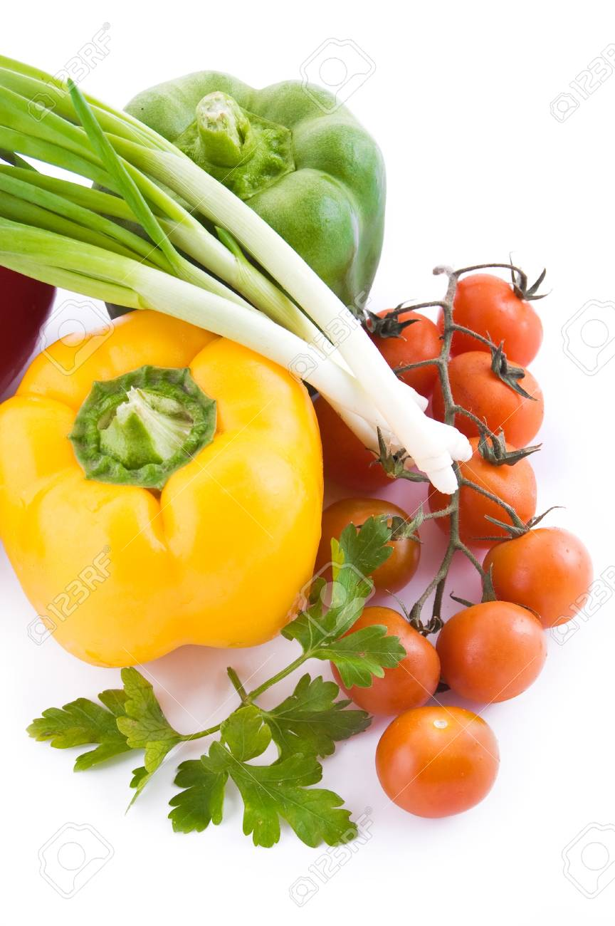 Cabbage with greens, cherry tomatoes and pepper over white Stock Photo - 9765355