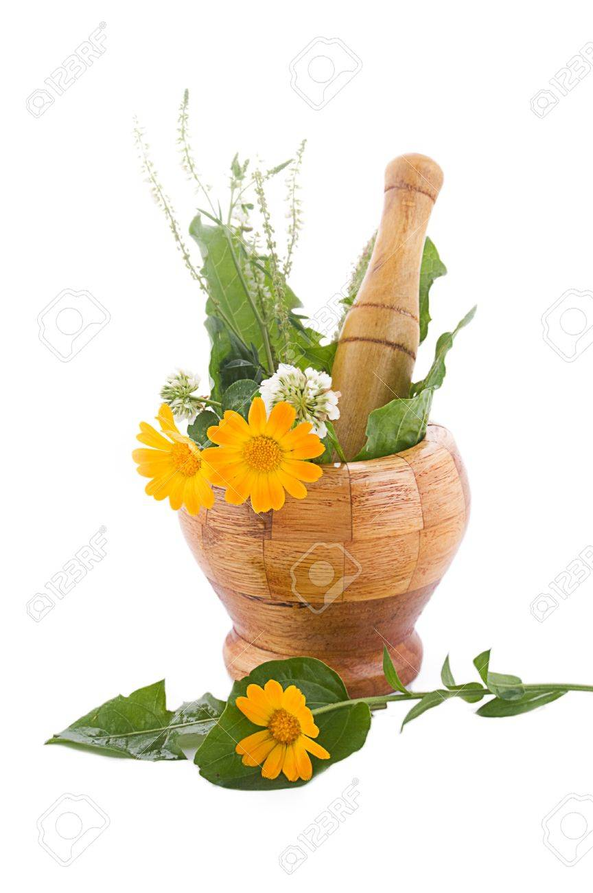 Mortar with herbs and marigolds isolated on white Stock Photo - 9973310