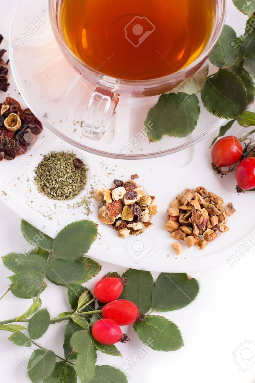 Assortment of dry tea in palette, isolated on white Stock Photo - 21460068