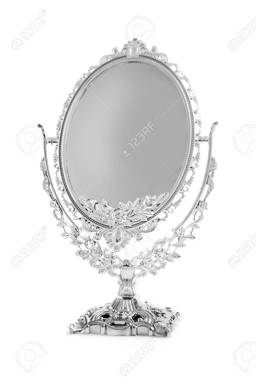 Antike Silber Spiegel Auf Weißen Hintergrund Isoliert Lizenzfreie ...
