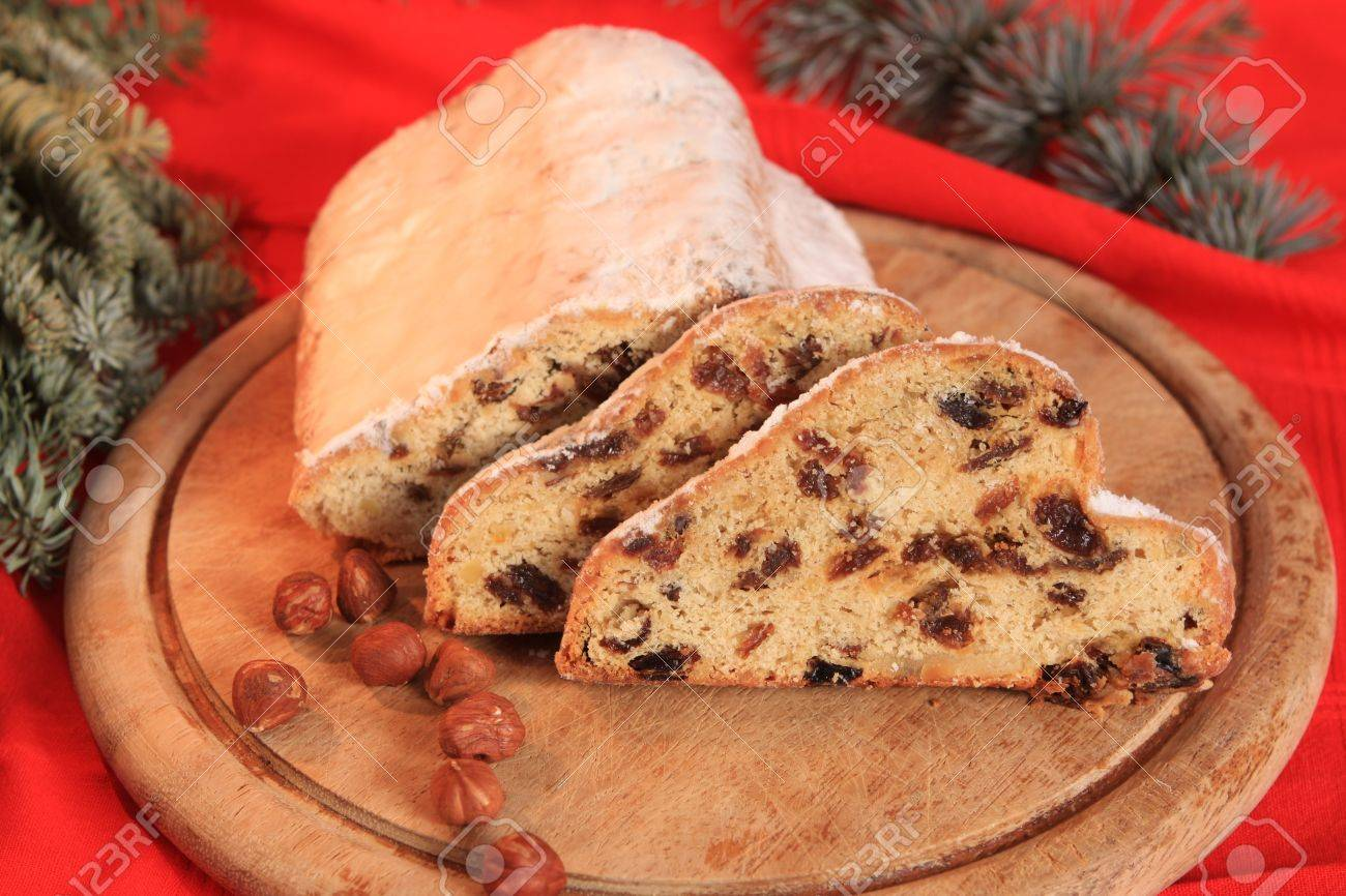 Stollen, German Christmas Cake With Raisins Stock Photo, Picture ...
