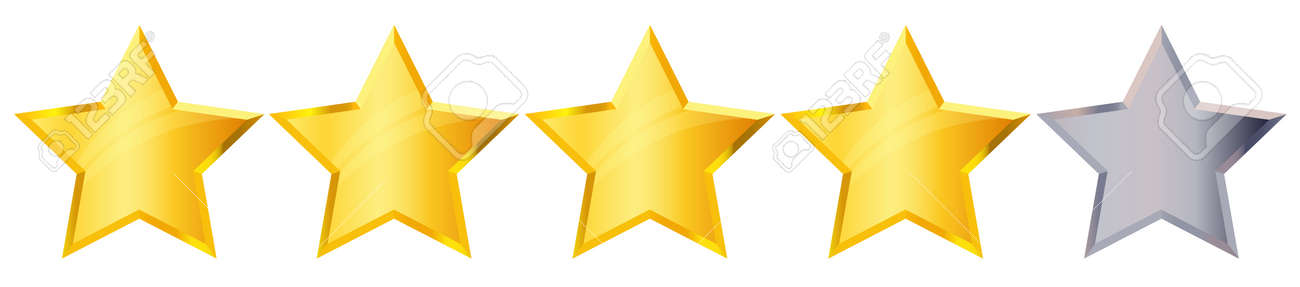 Four 4 Star rank sign. Glossy golden star sticker icon rating isolated on white background. Vector illustration - 168282009