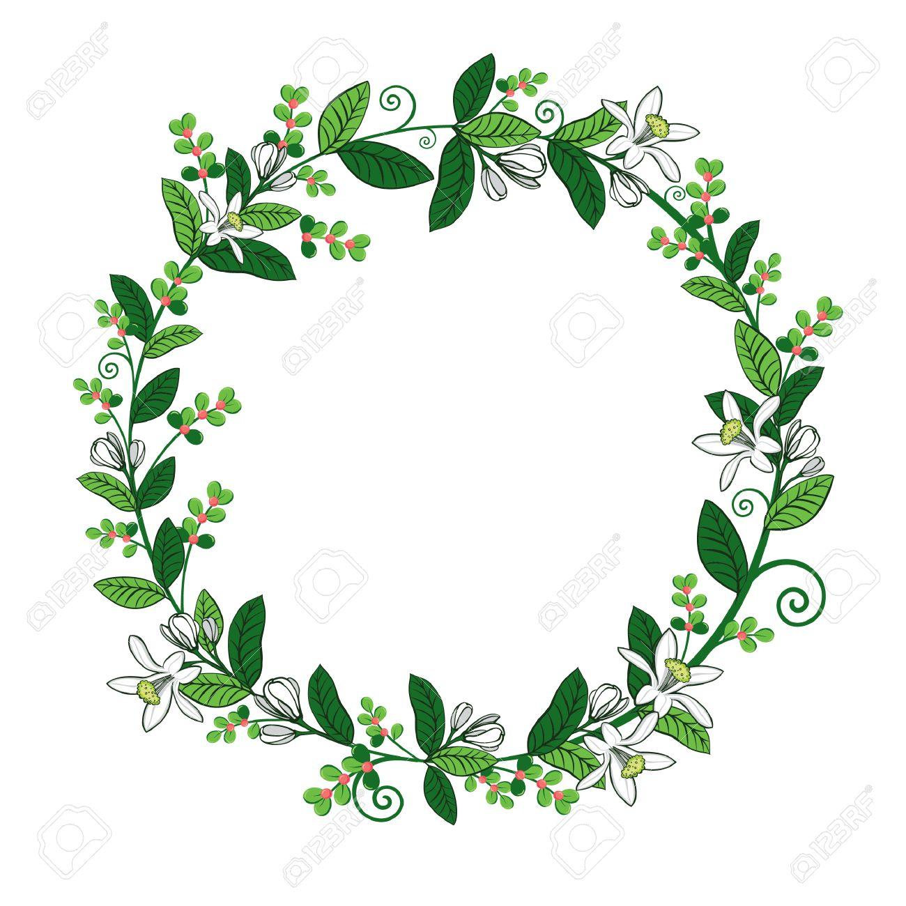 Kranz Aus Blättern, Blüten Und Zweige Mit Platz Für Text. Bild Für ...