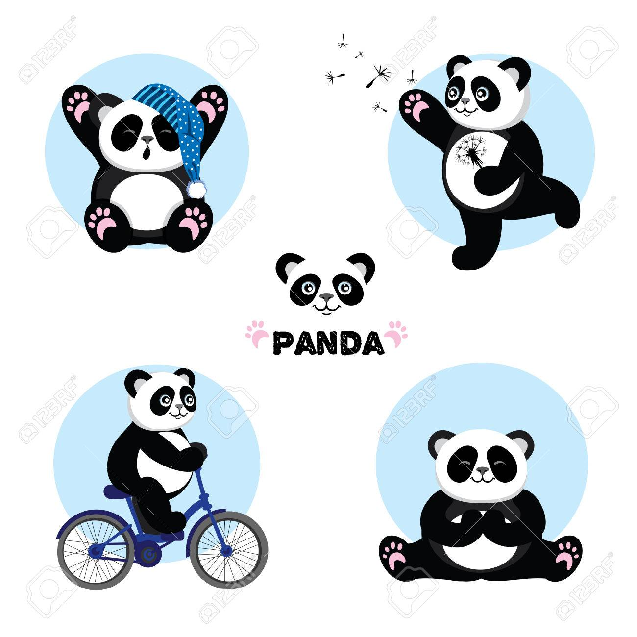 set of illustrations with panda vector illustration royalty free