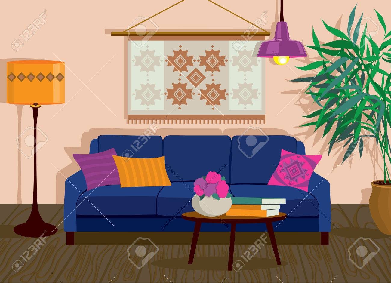 Interior Living Room Vector Illustration In Flat Design With Shadows House Furniture Cartoon