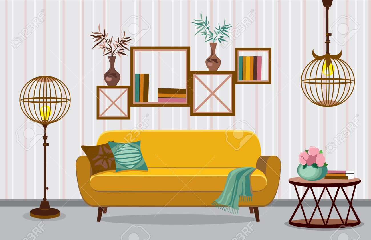 Great Interior Living Room. Vector Illustration In Flat Design With Shadows.  House Furniture. Cartoon
