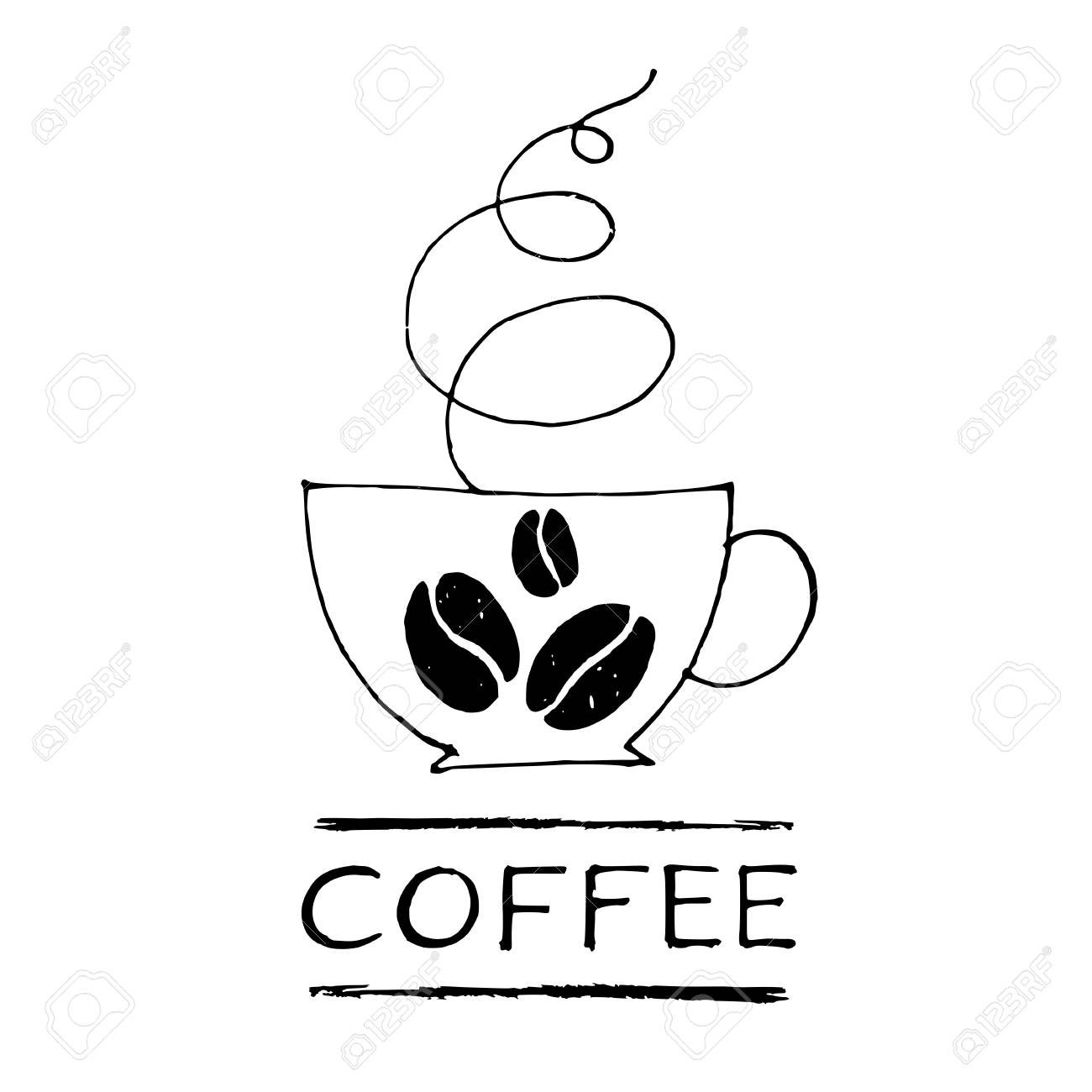 Coffee Cup Vector Logo Hand Drawn Line Illustration And Lettering