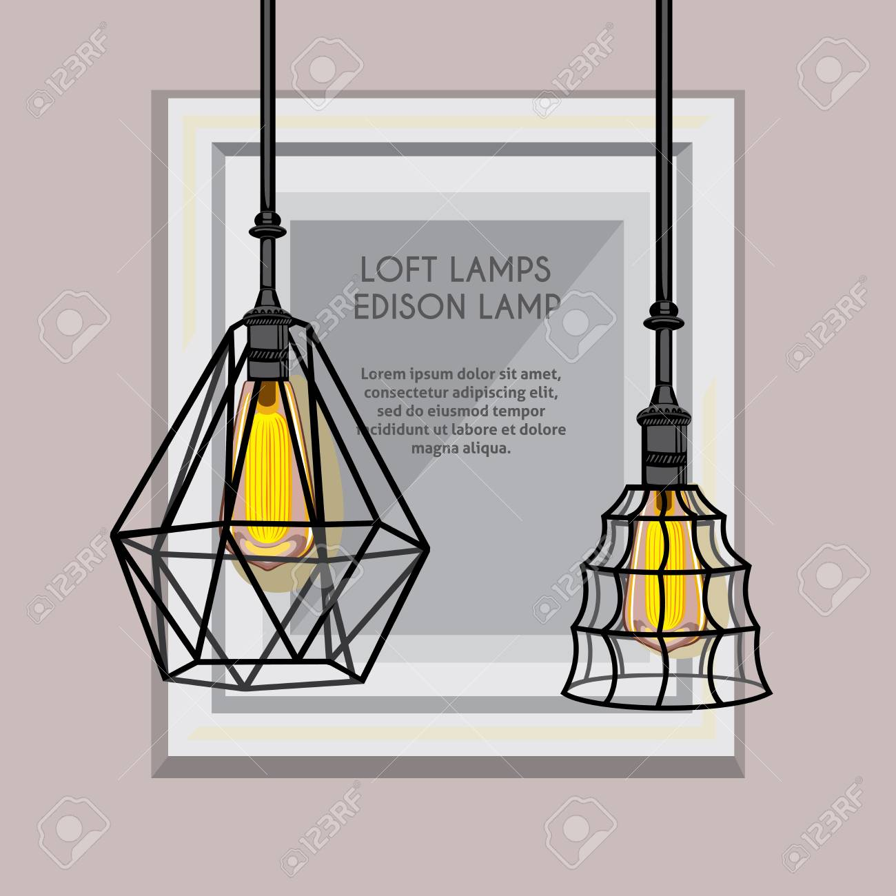 Poster With Stylish, Modern, Geometric, Designer Chandeliers ...