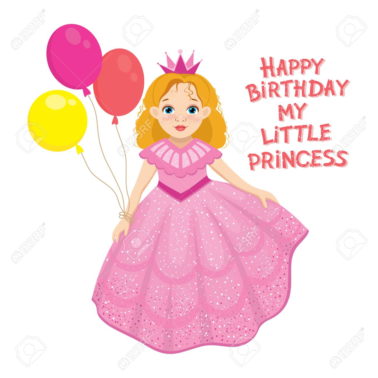 Happy Birthday Cute Fairy Girl Greeting Card With Colorful Balloon