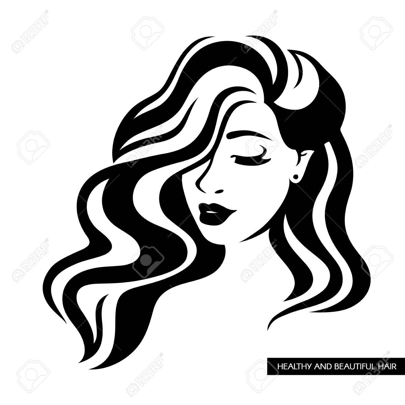 Illustration Of Women Long Hair Style Icon Women Face Face