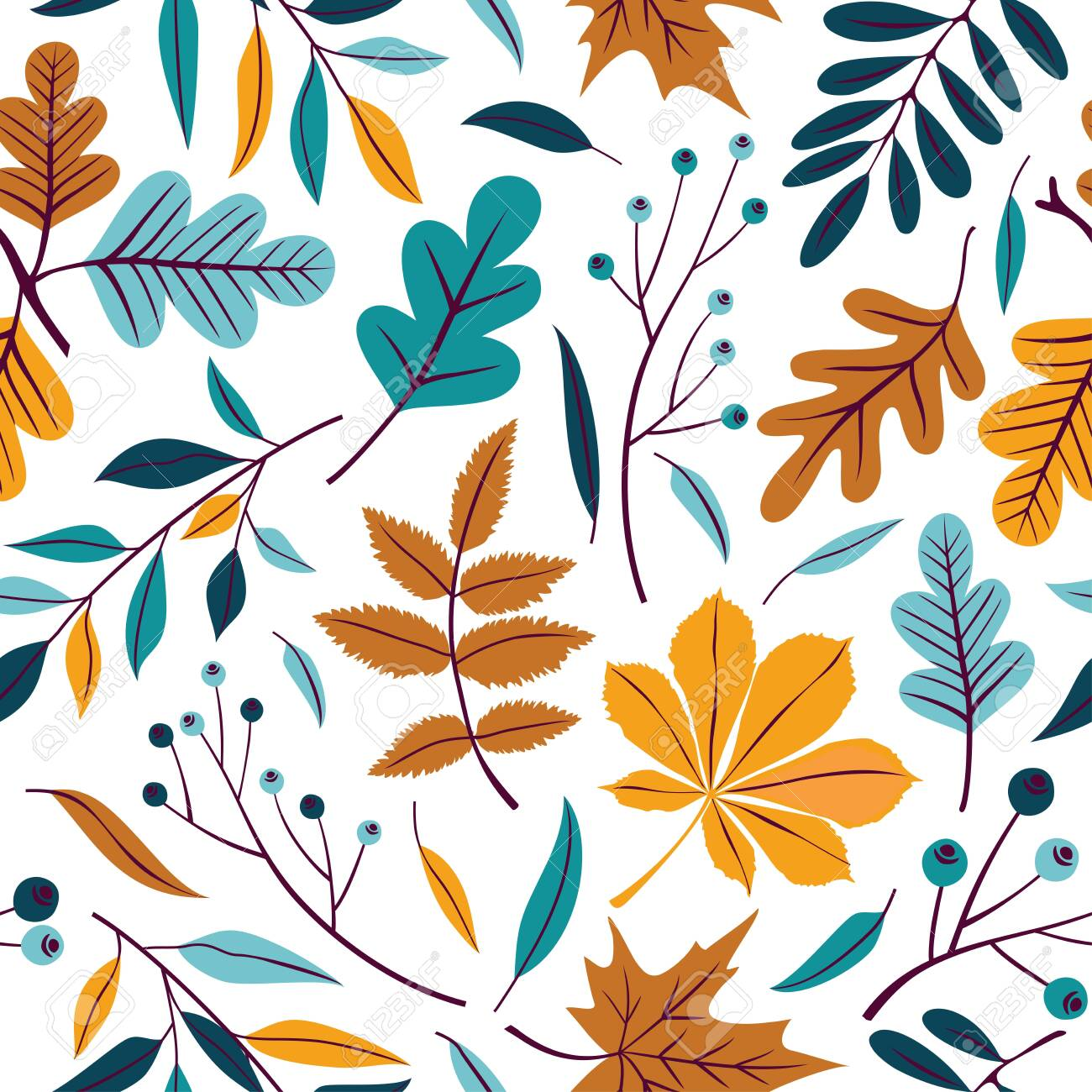 Vector seamless pattern of autumn leaves, branches and berries. - 136818180