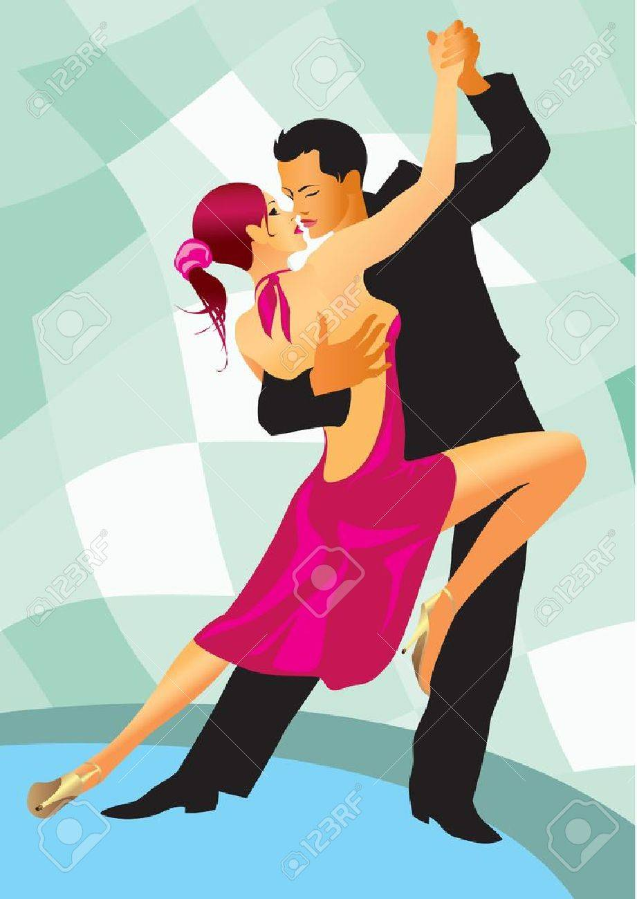 couple participates in competitions in sport dancing - vector illustration Stock Vector - 10456404