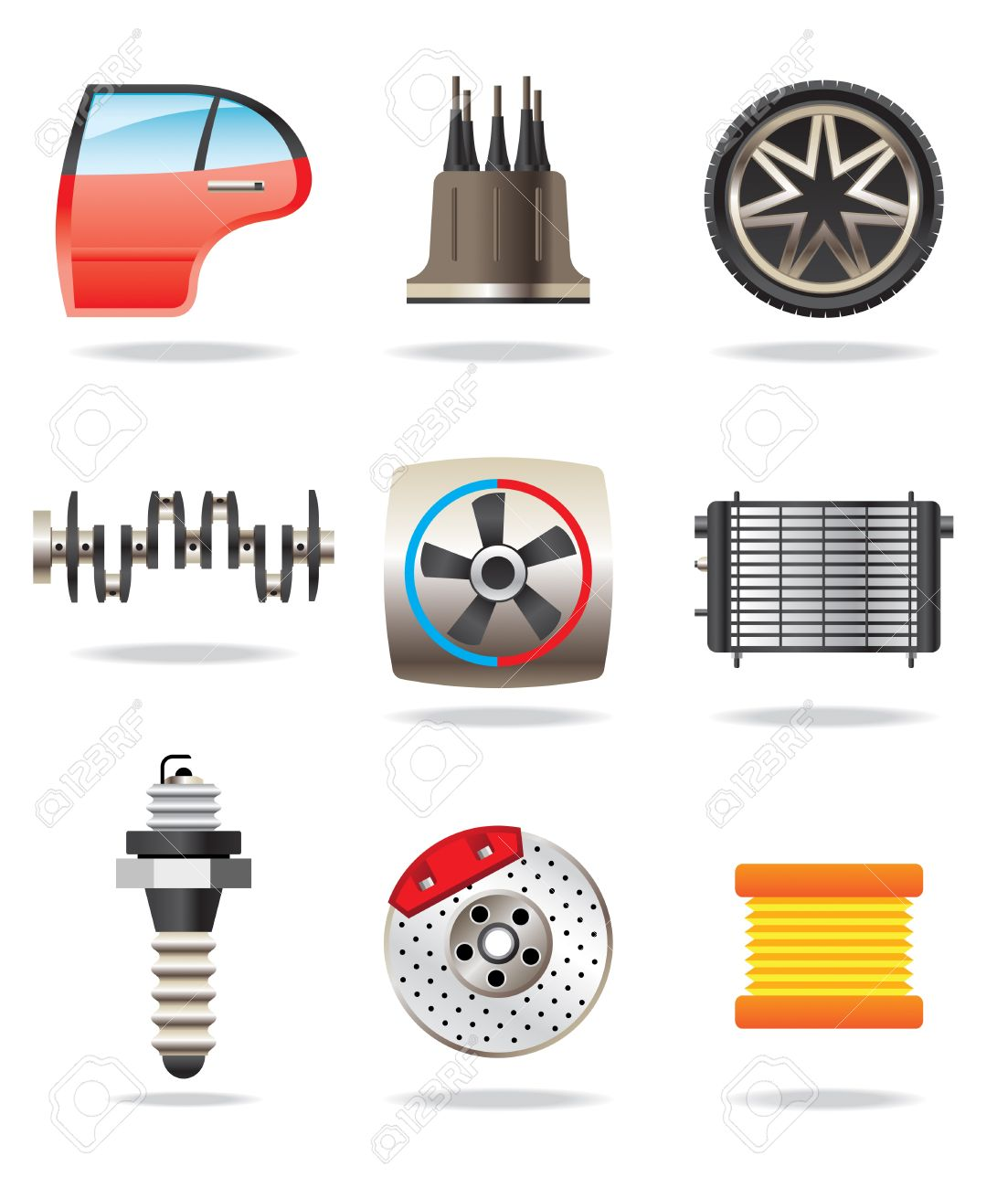 車の部品やシンボル - ベクトル イラスト ロイヤリティフリークリップ