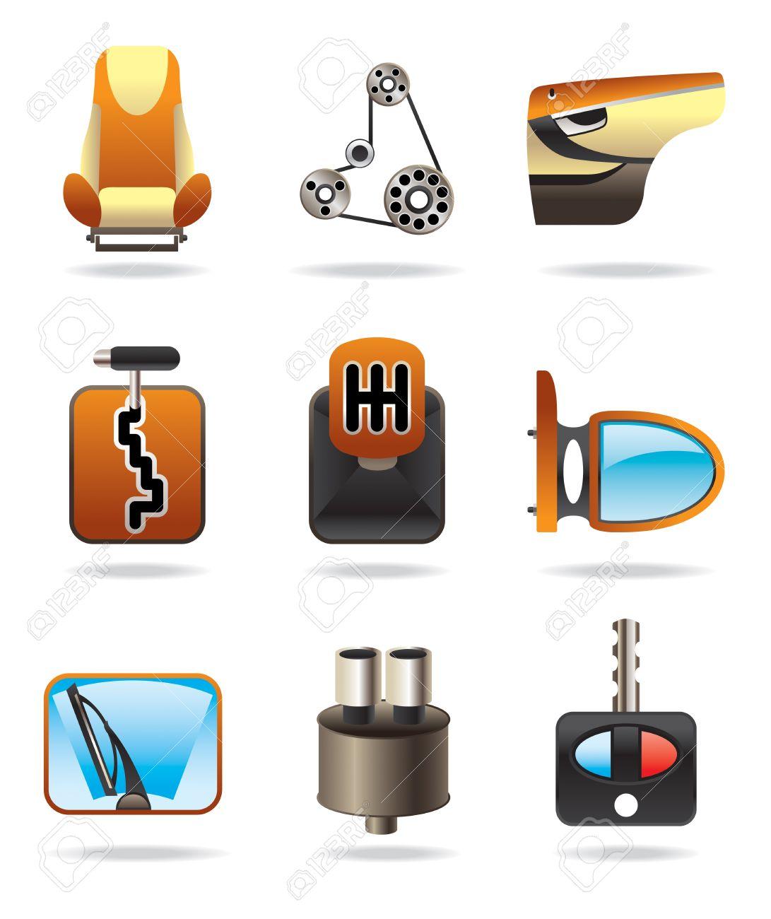 車部品アイコンを設定 - ベクトル イラスト ロイヤリティフリー