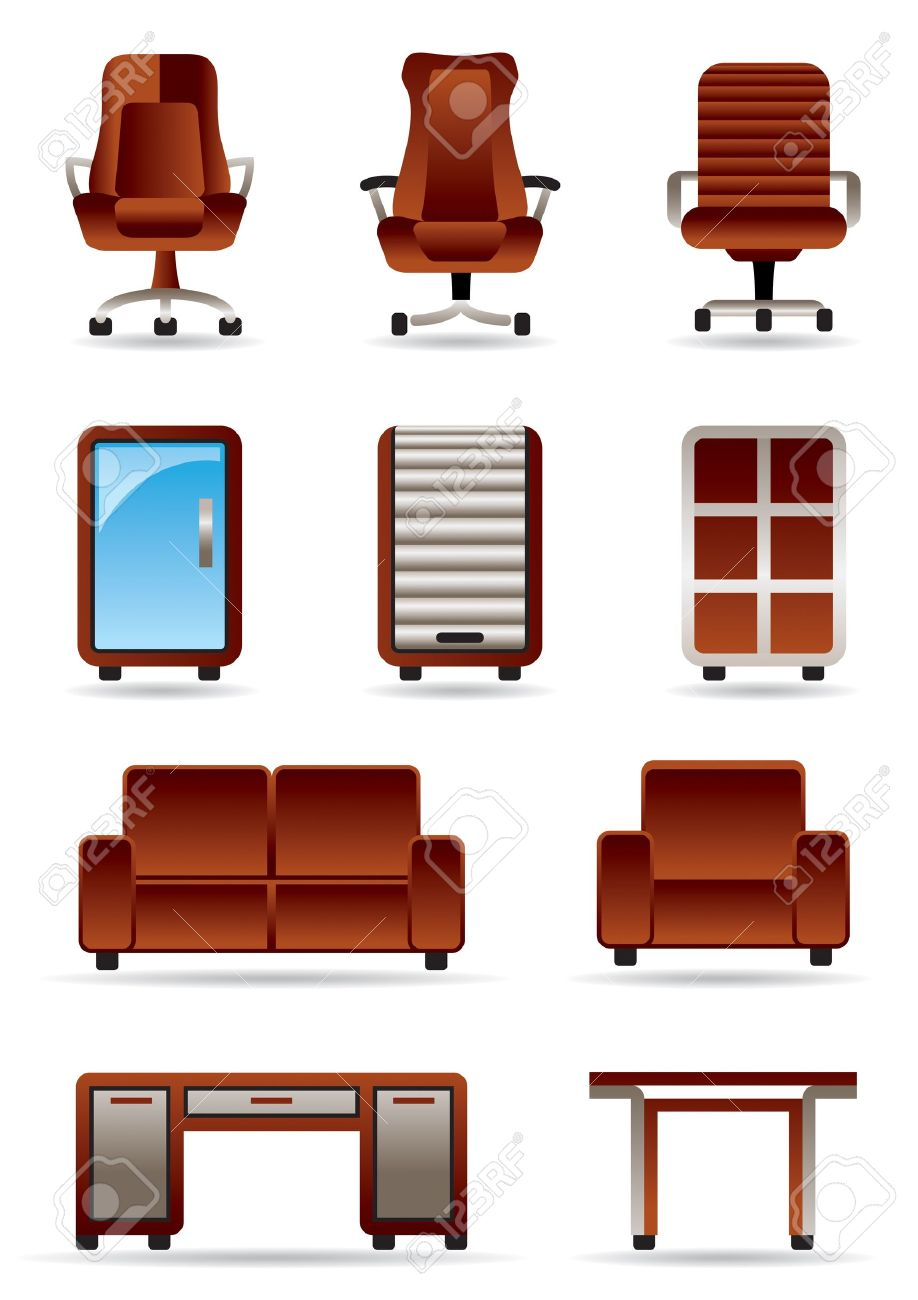 Business office furniture icon set Stock Vector - 12480704