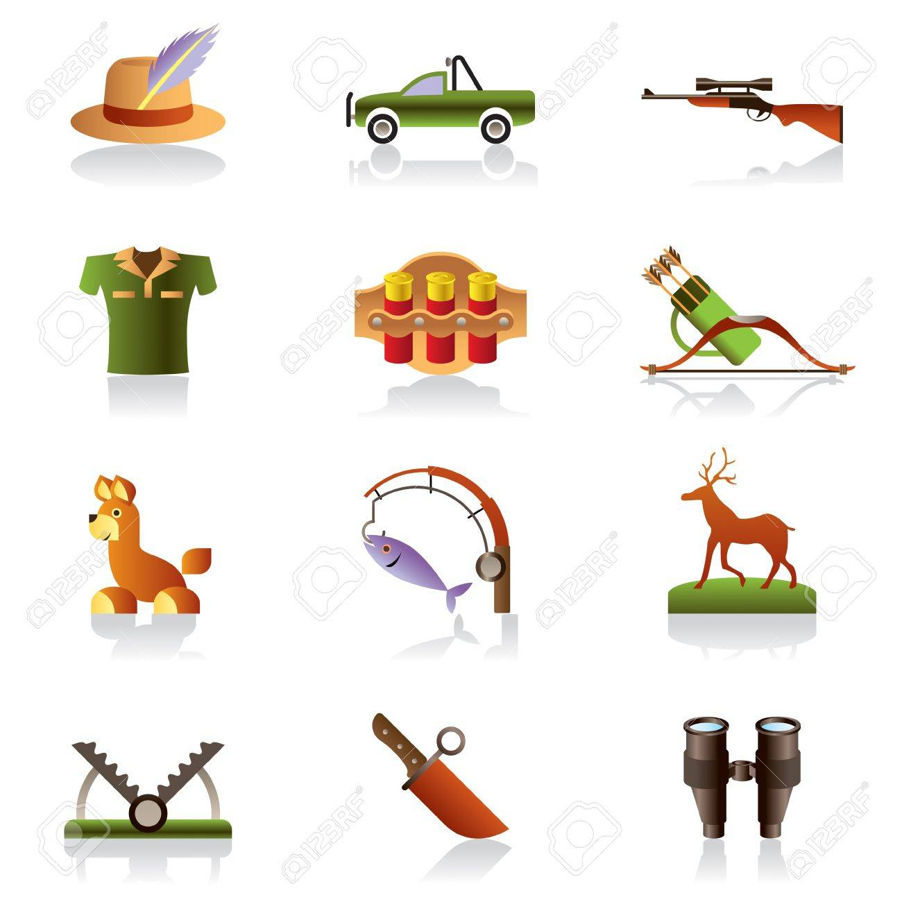 Hunting accessories and symbols illustration Stock Vector - 12481119