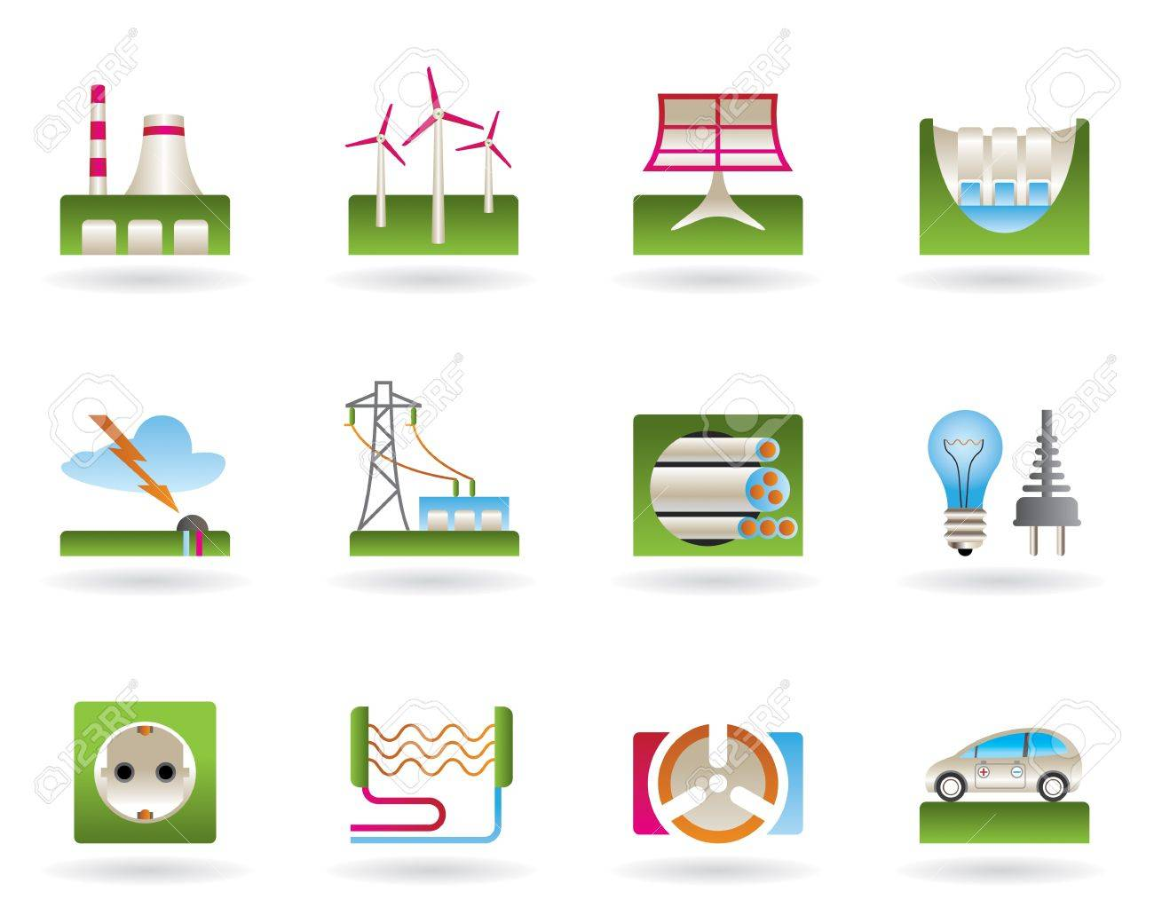 Power plants, electricity grids, electricity consumers Stock Vector - 12481122