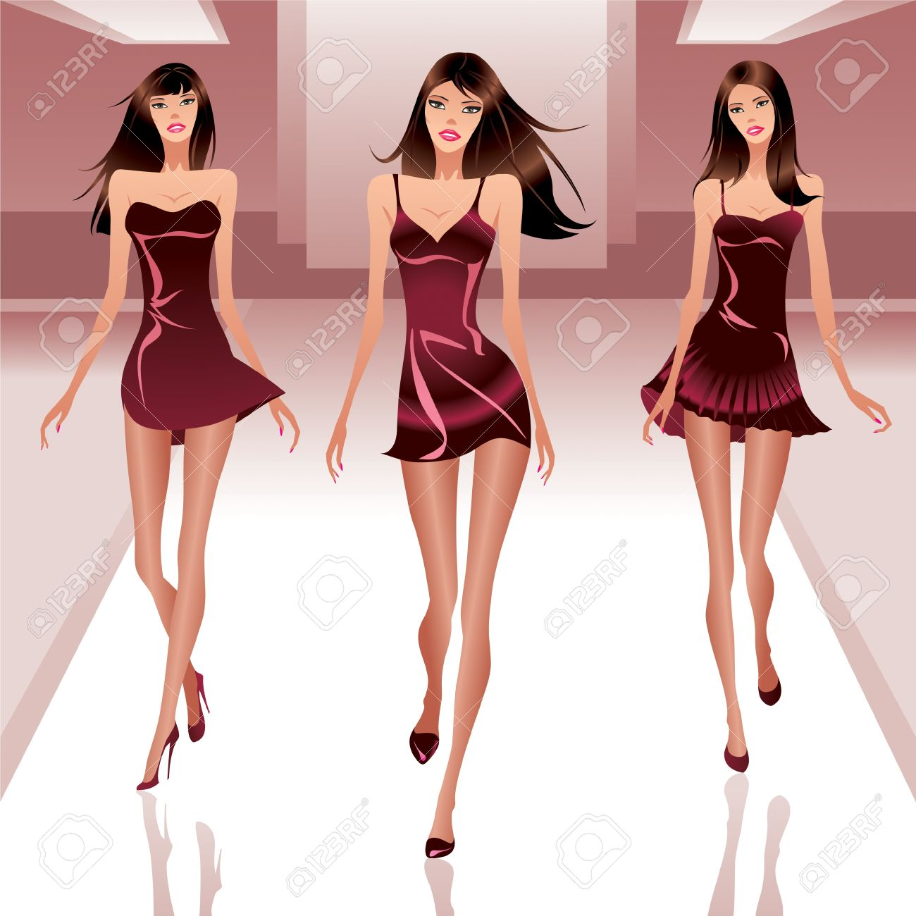 Fashion models on catwalk illustration Stock Vector - 14248668