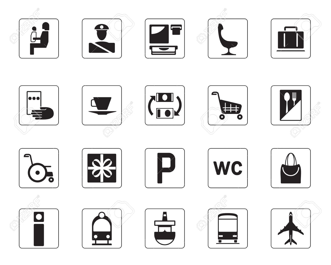 Airport, bus station and railway station icons set Stock Vector - 14416055