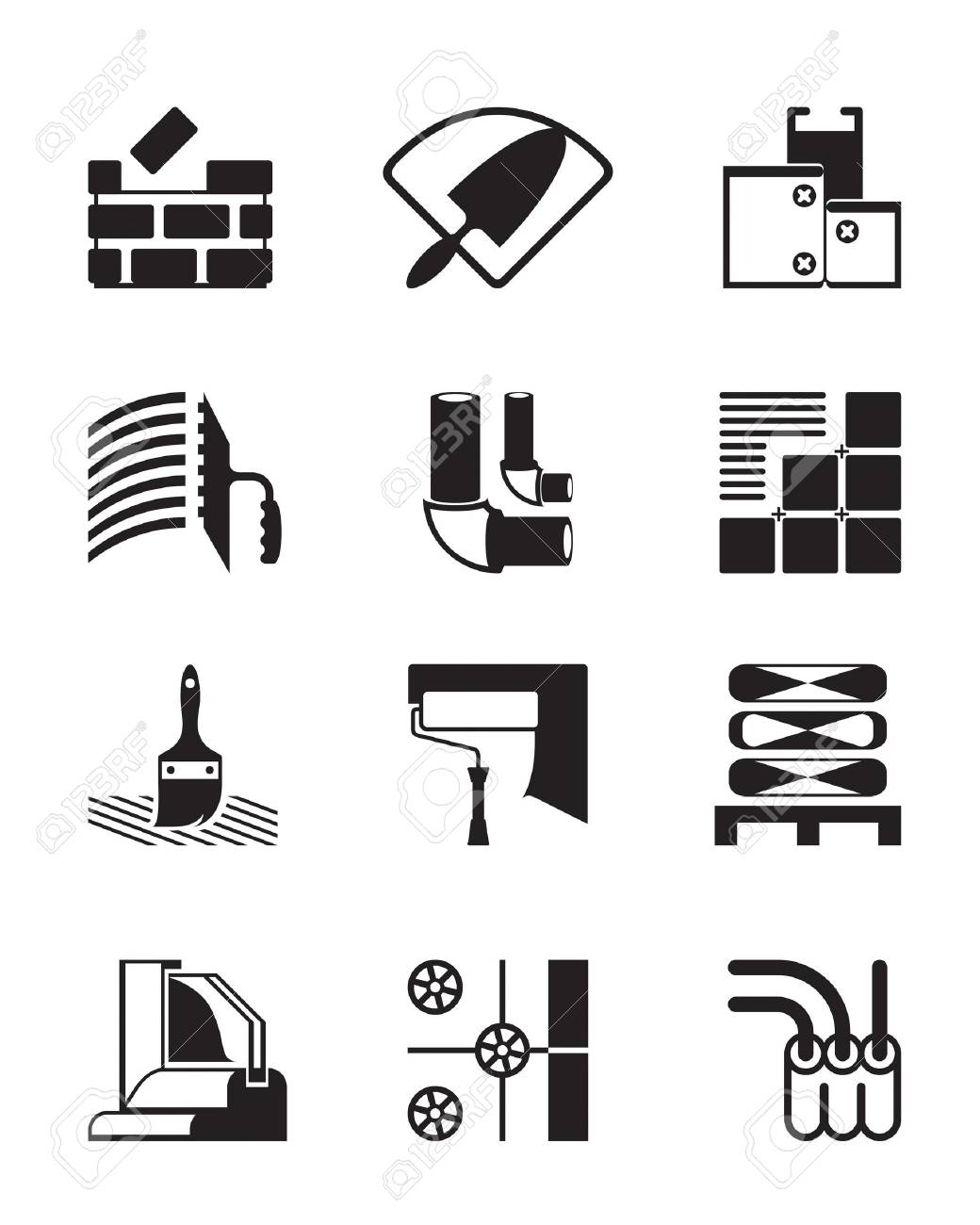 Construction materials and tools -  illustration Stock Vector - 15799800