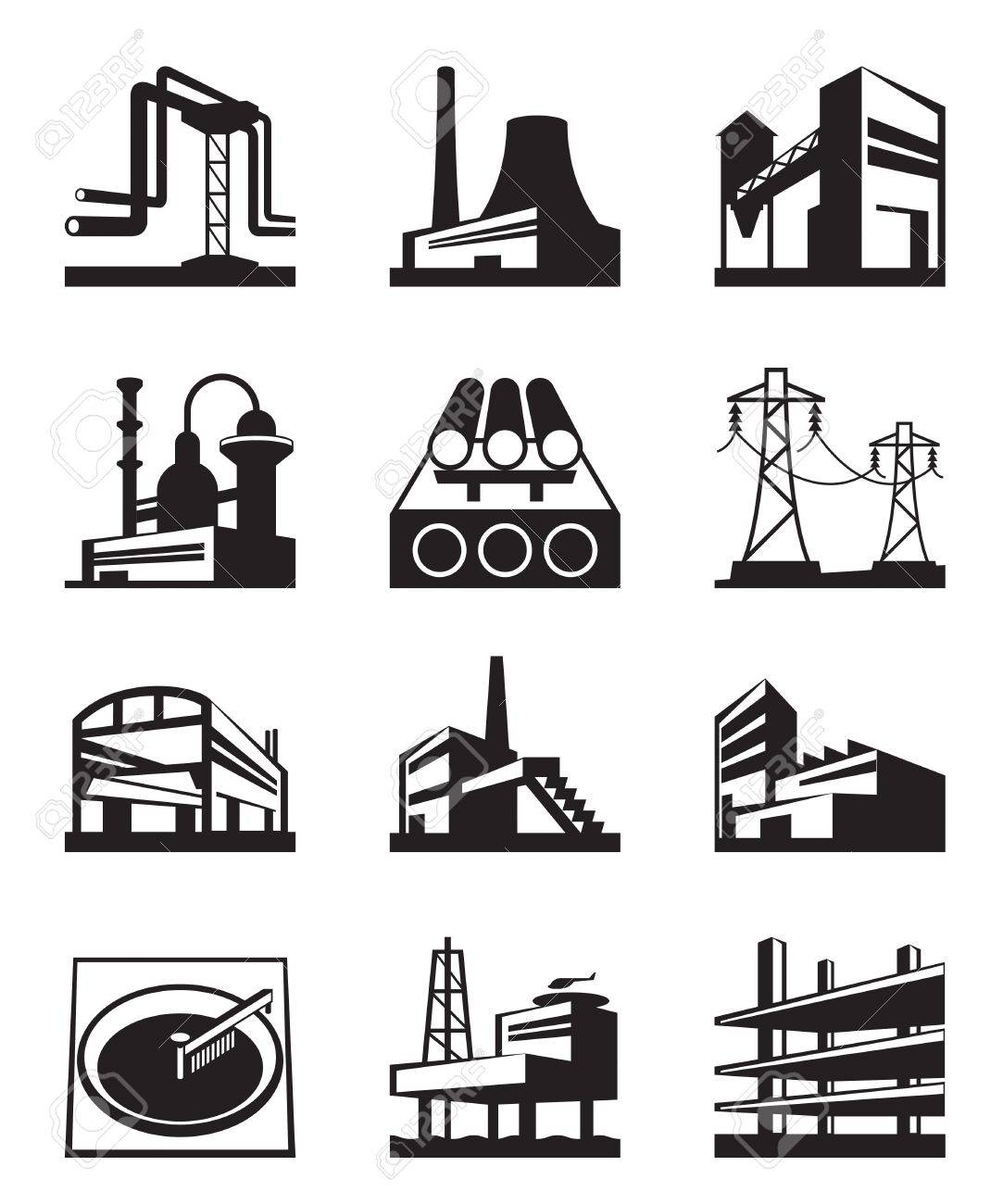 Different types of industrial construction Stock Vector - 20671328
