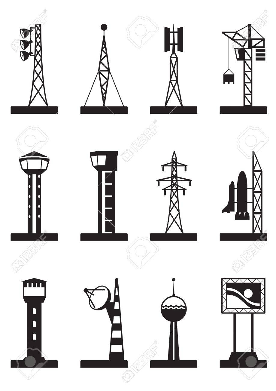 Industrial towers and poles Stock Vector - 21504361