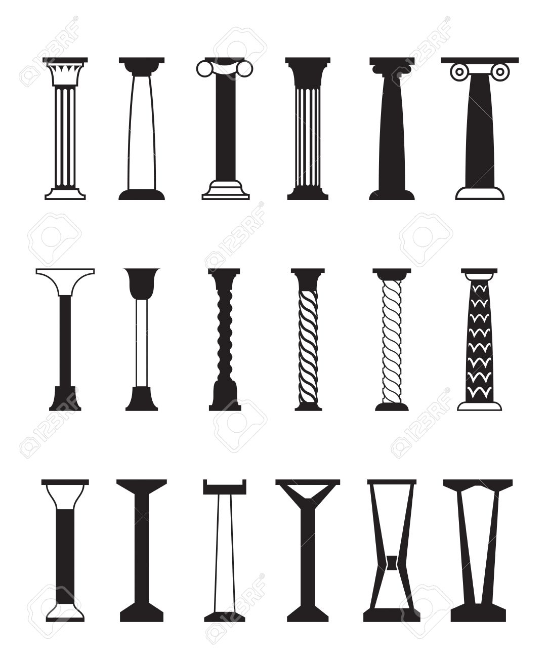Different Types Of Columns - Vector Illustration Royalty Free ...