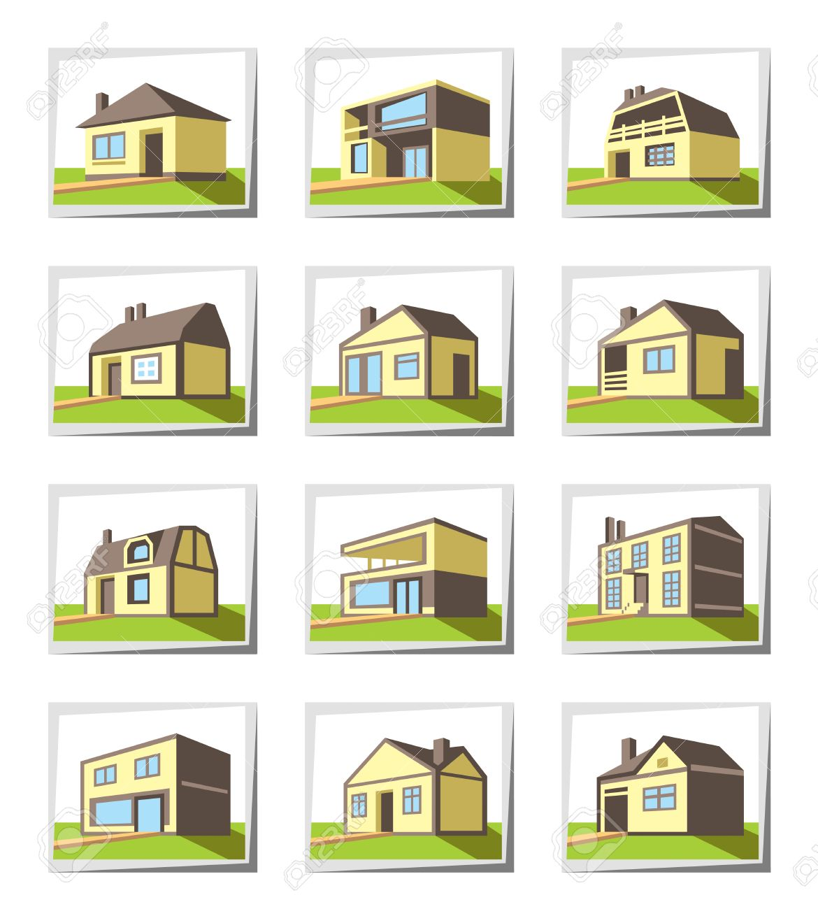 Various Types Of Houses Vector Illustration Royalty Free
