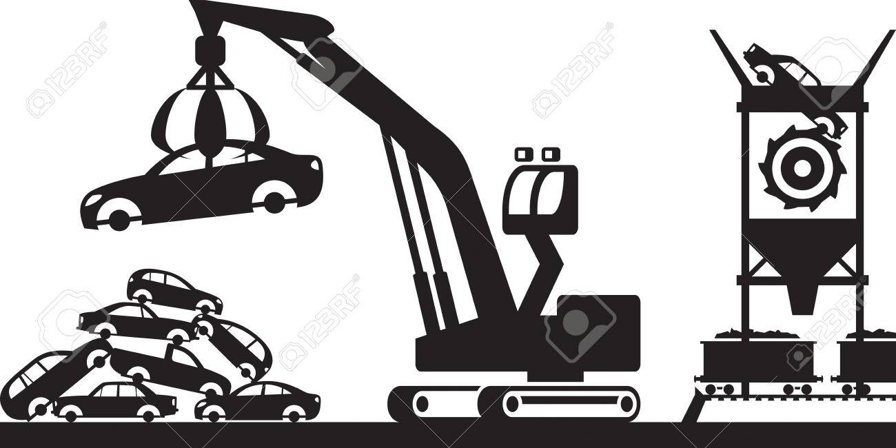 Collection and processing of scrap - vector illustration - 43118935