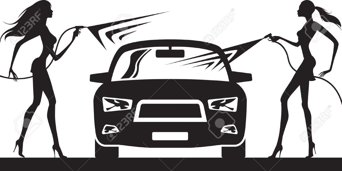 Car Wash With Fashion Models - Vector Illustration Ilustraciones ...