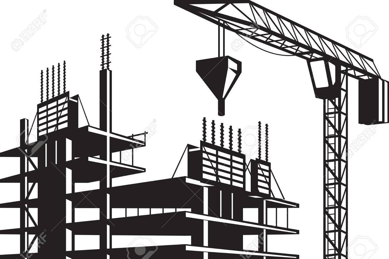crane poured concrete construction vector illustration royalty rh 123rf com construction vector logo free construction vectorielle 2nde