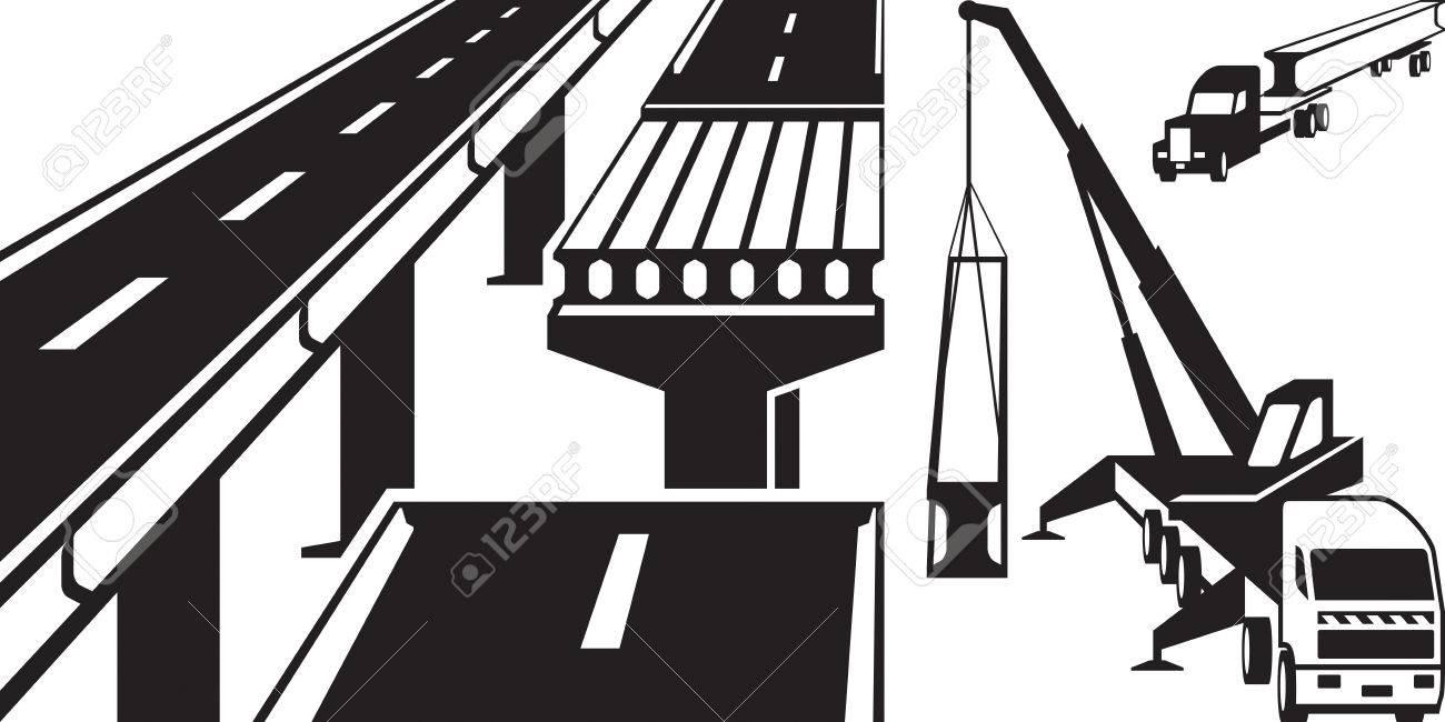 Crane Mounting Concrete Beam Bridge Royalty Free Cliparts Vectors Truss Diagram Stock Vector 51396219